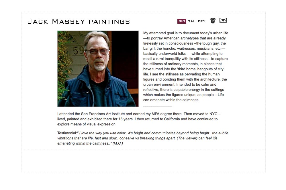 web design for a digital artist - Jack Massey - about page