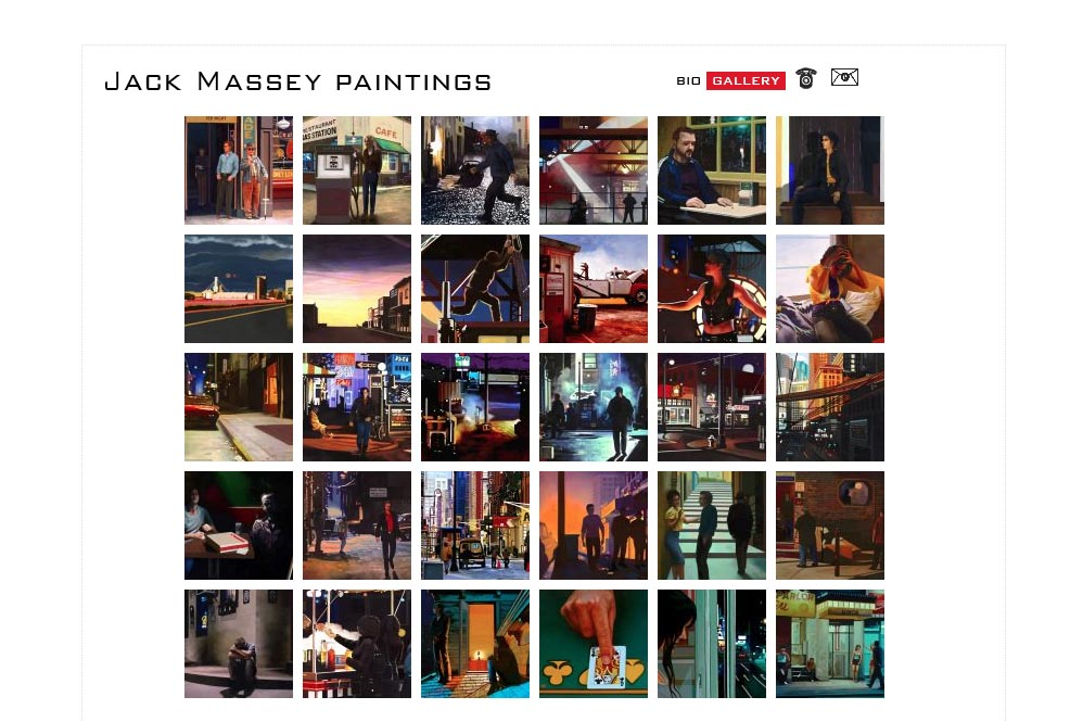 web design for a digital artist - Jack Massey - gallery thumbnails page