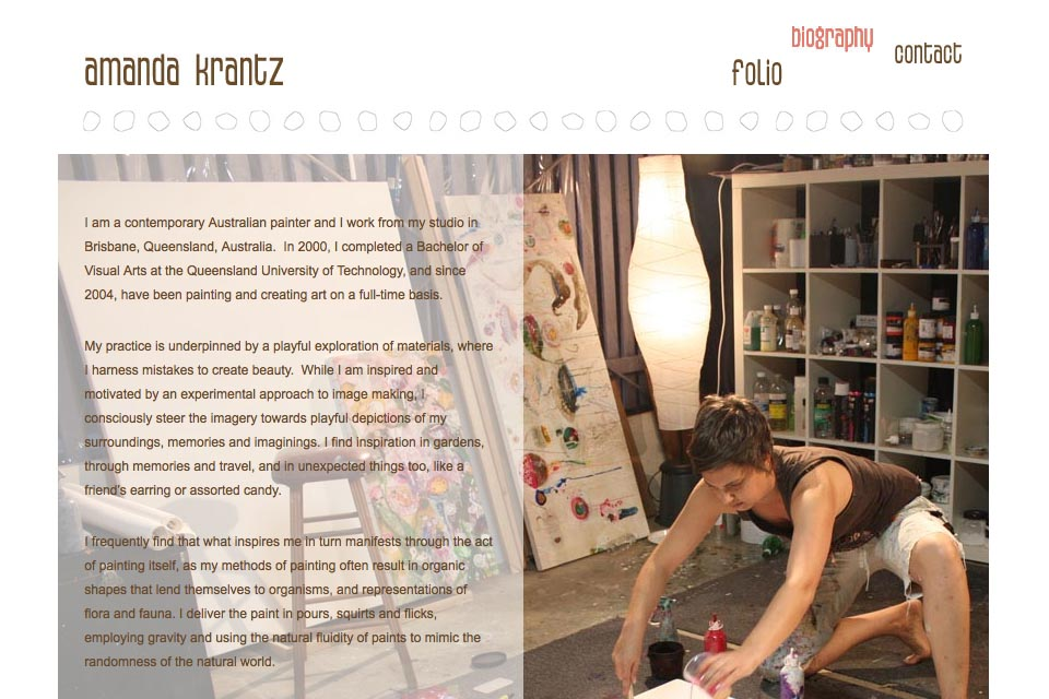 web design for a painter - Amanda Krantz - about page
