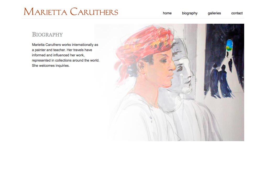 web design for a watercolor artist - biography