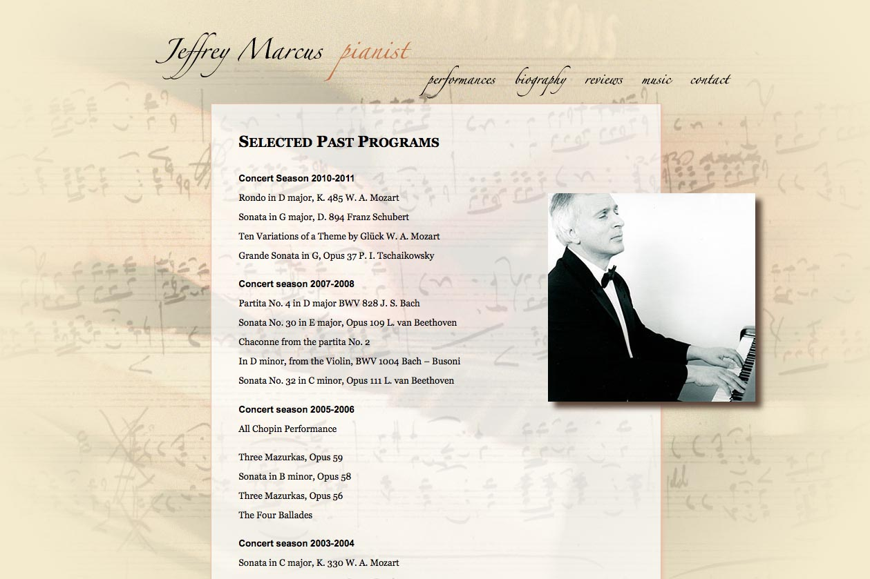 web design for a world-renowned  classical pianist - Jeffrey Marcus - performance page