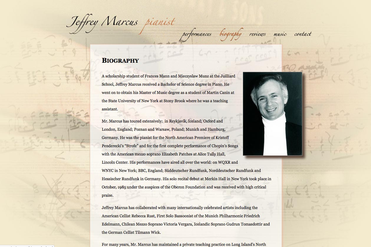 web design for a world-renowned  classical pianist - Jeffrey Marcus - biography page
