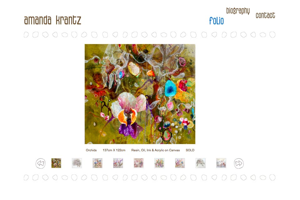 web design for a painter - Amanda Krantz - portfolio index page