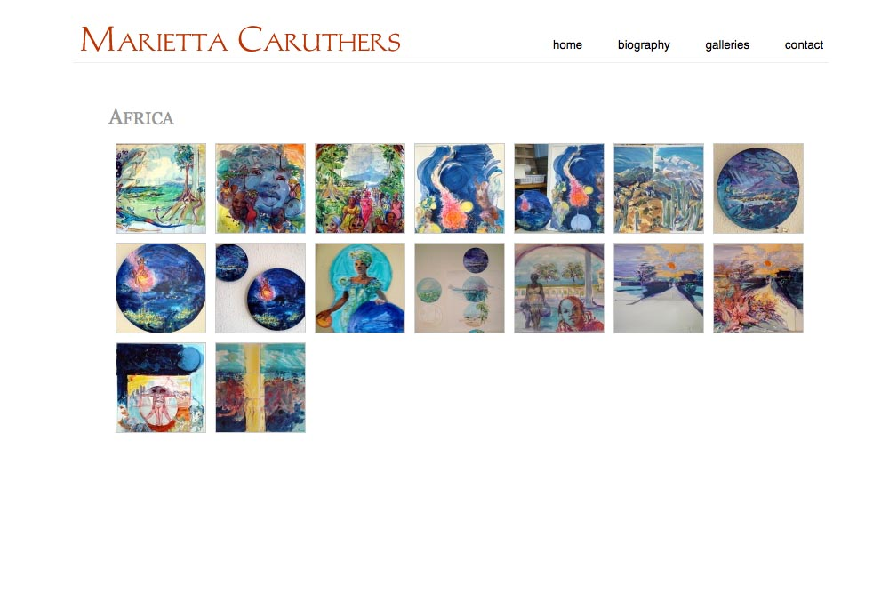 web design for a watercolor artist - index page for africa painting series