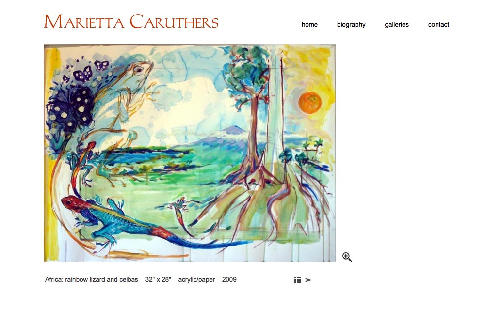 web design for a watercolor artist - single artwork page in africa series