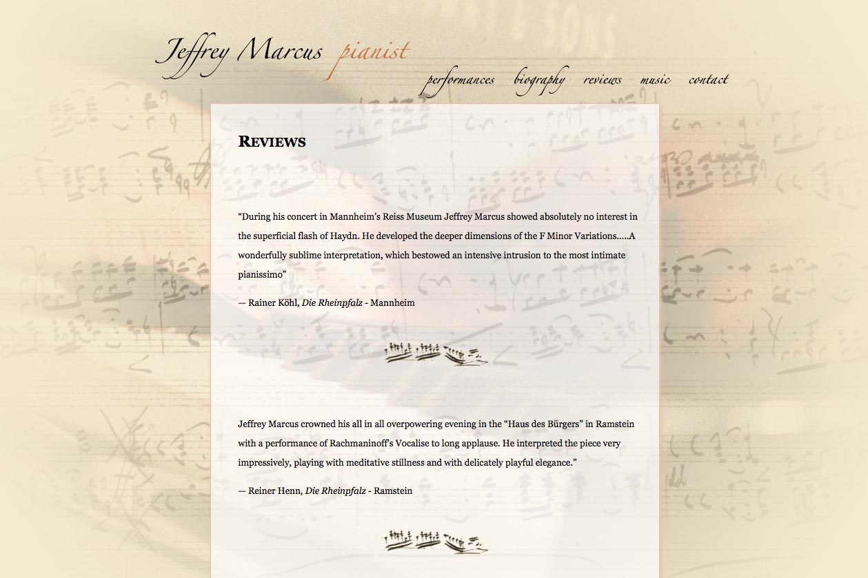 web design for a world-renowned  classical pianist - Jeffrey Marcus - reviews page