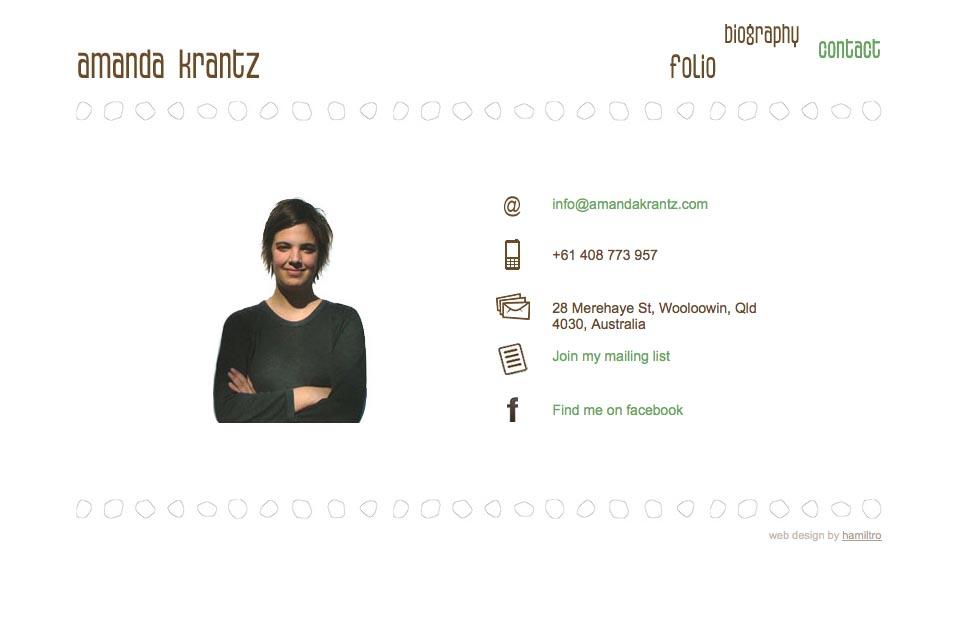 web design for a painter - Amanda Krantz - contact