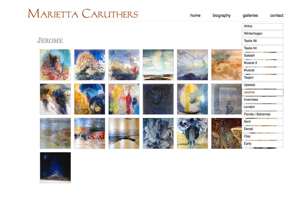 web design for a watercolor artist - galleries index page with dropdown menu