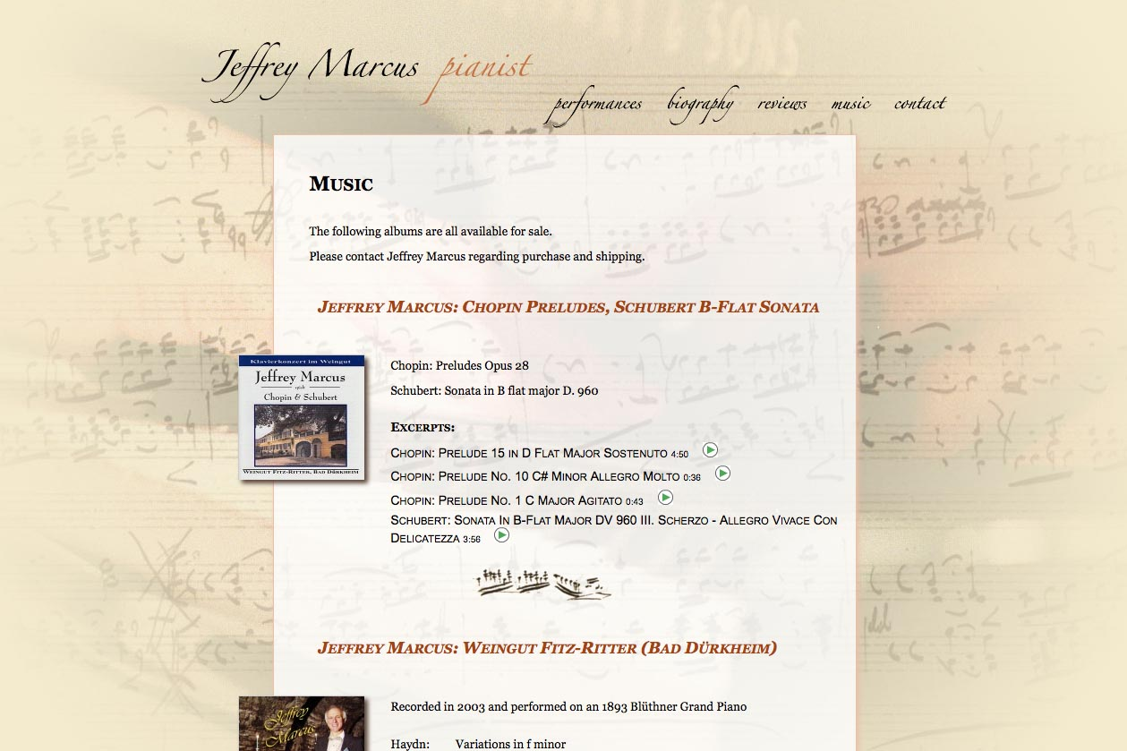 web design for a world-renowned  classical pianist - Jeffrey Marcus - music page