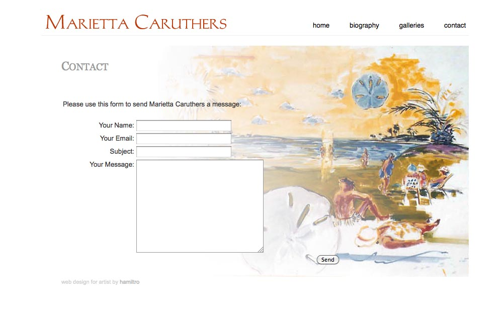 web design for a watercolor artist - contact page
