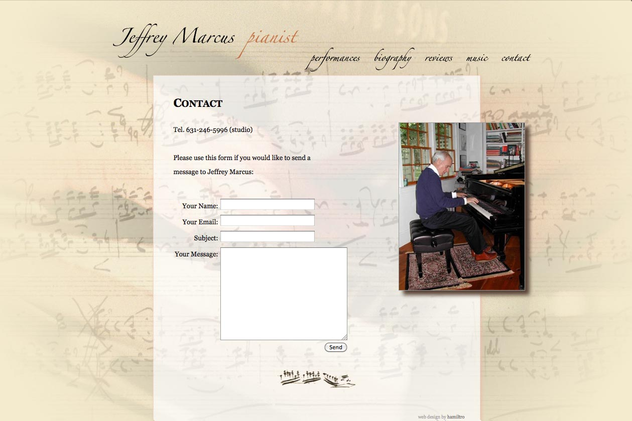 web design for a world-renowned  classical pianist - Jeffrey Marcus - contact page