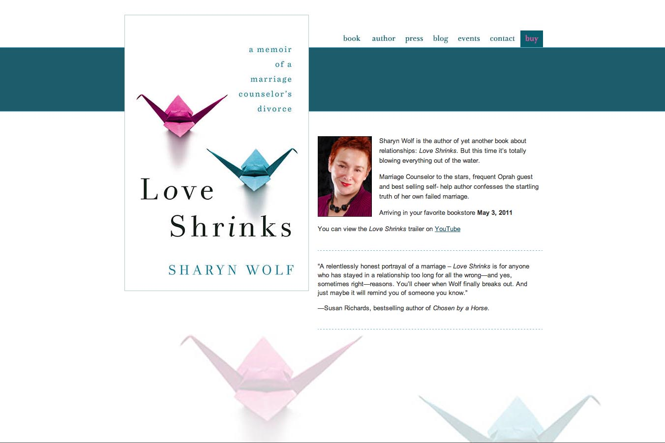 web design for a book by a relationships therapist - Sharyn Wolf