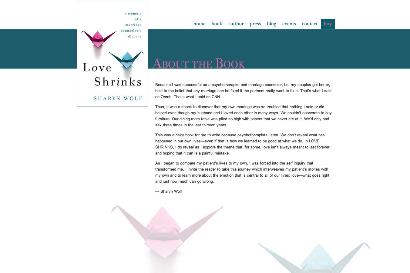 web design for a book by a relationships therapist - about the book page