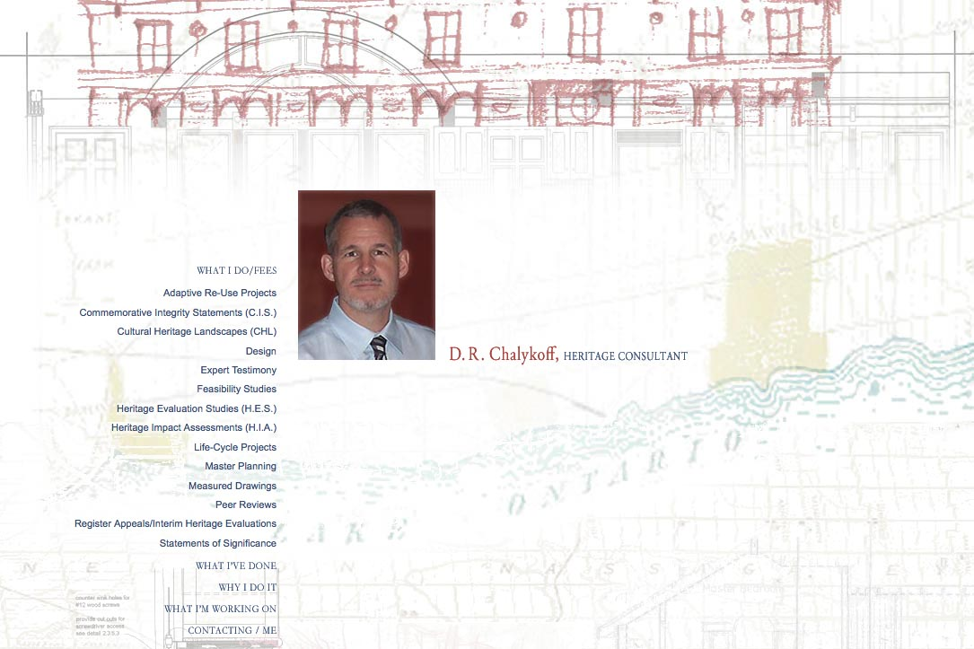 web design for an architectural heritage consultant - Dan Chalykoff - what I do for fees page