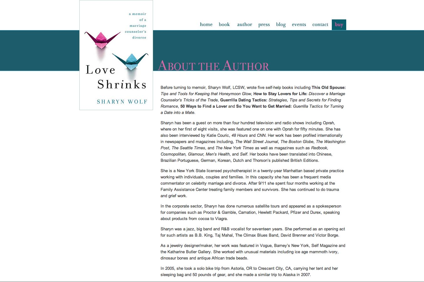 web design for a book by a relationships therapist - about the author page