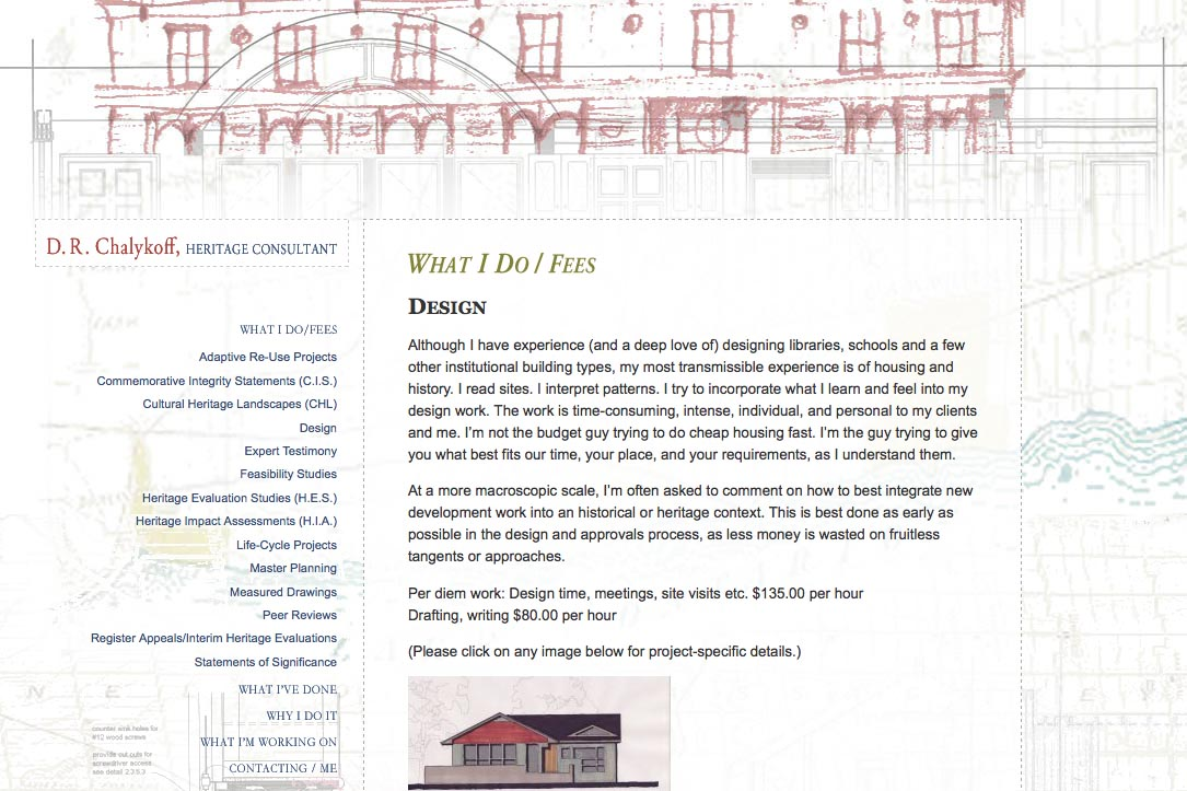 web design for an architectural heritage consultant - Dan Chalykoff - what I do design page