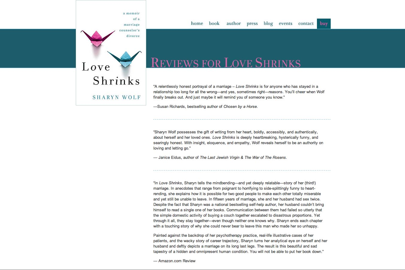 web design for a book by a relationships therapist - reviews page