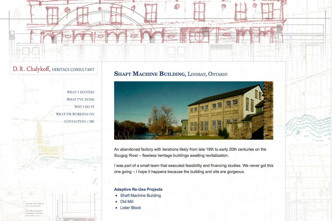 web design for an architectural heritage consultant - Dan Chalykoff - what I do example page