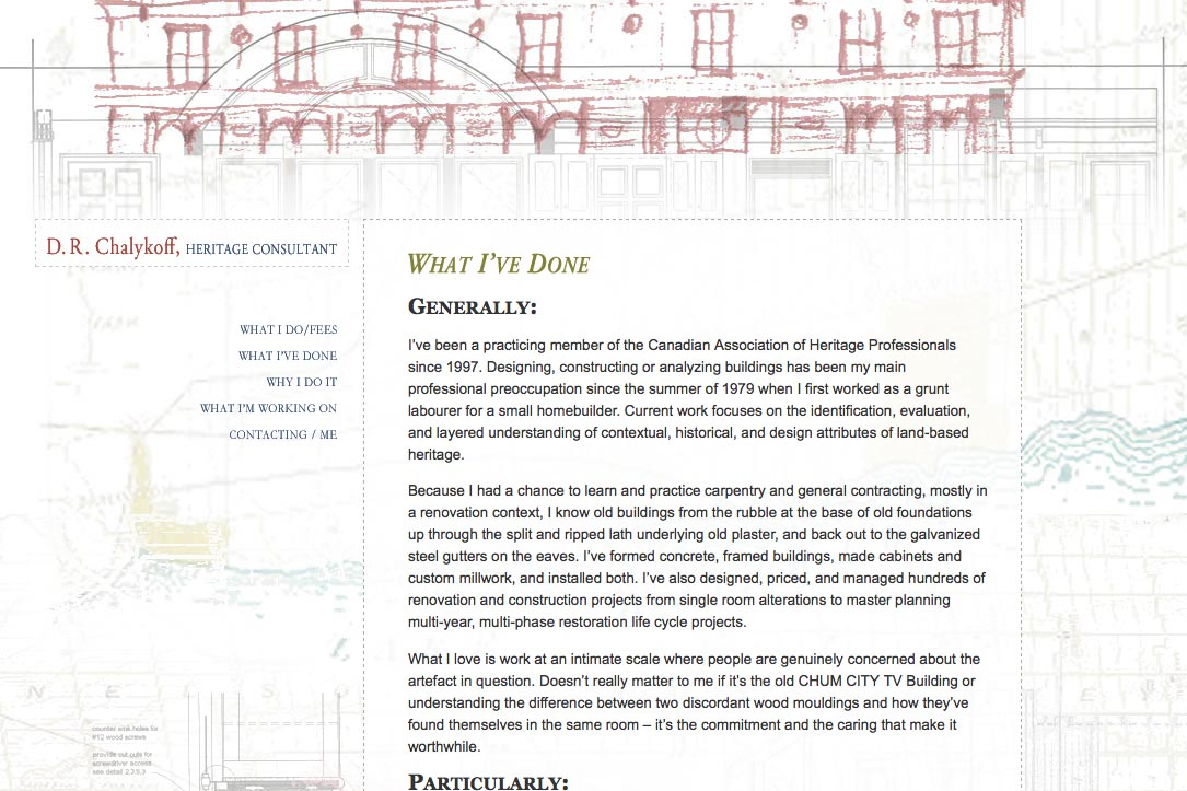 web design for an architectural heritage consultant - what I've done page