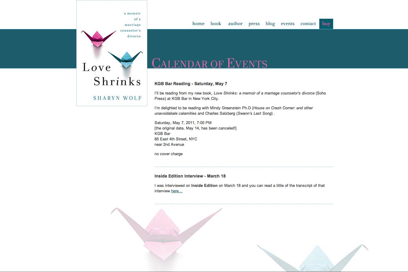 web design for a book by a relationships therapist - events page