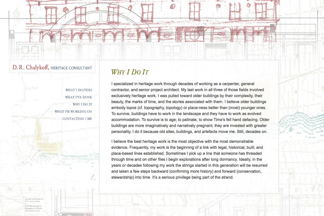 web design for an architectural heritage consultant - why I do it page