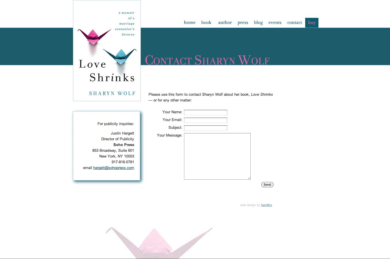 web design for a book by a relationships therapist - contact page