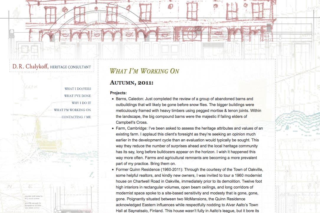 web design for an architectural heritage consultant - what I'm working on page