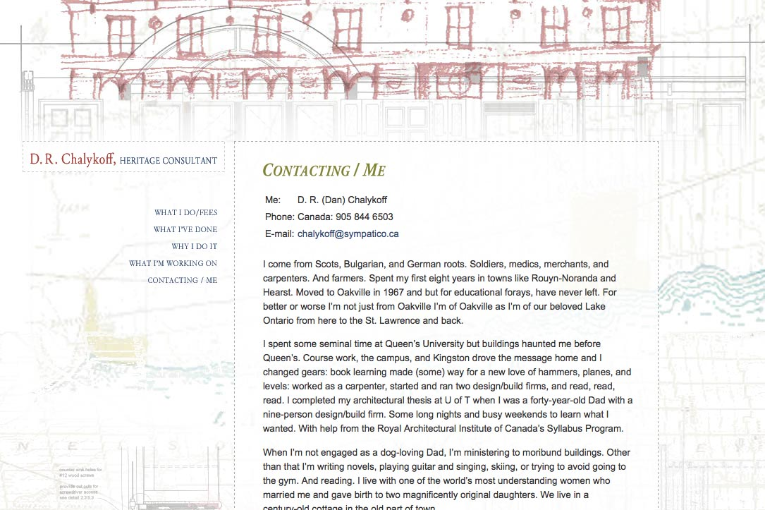 web design for an architectural heritage consultant - contact