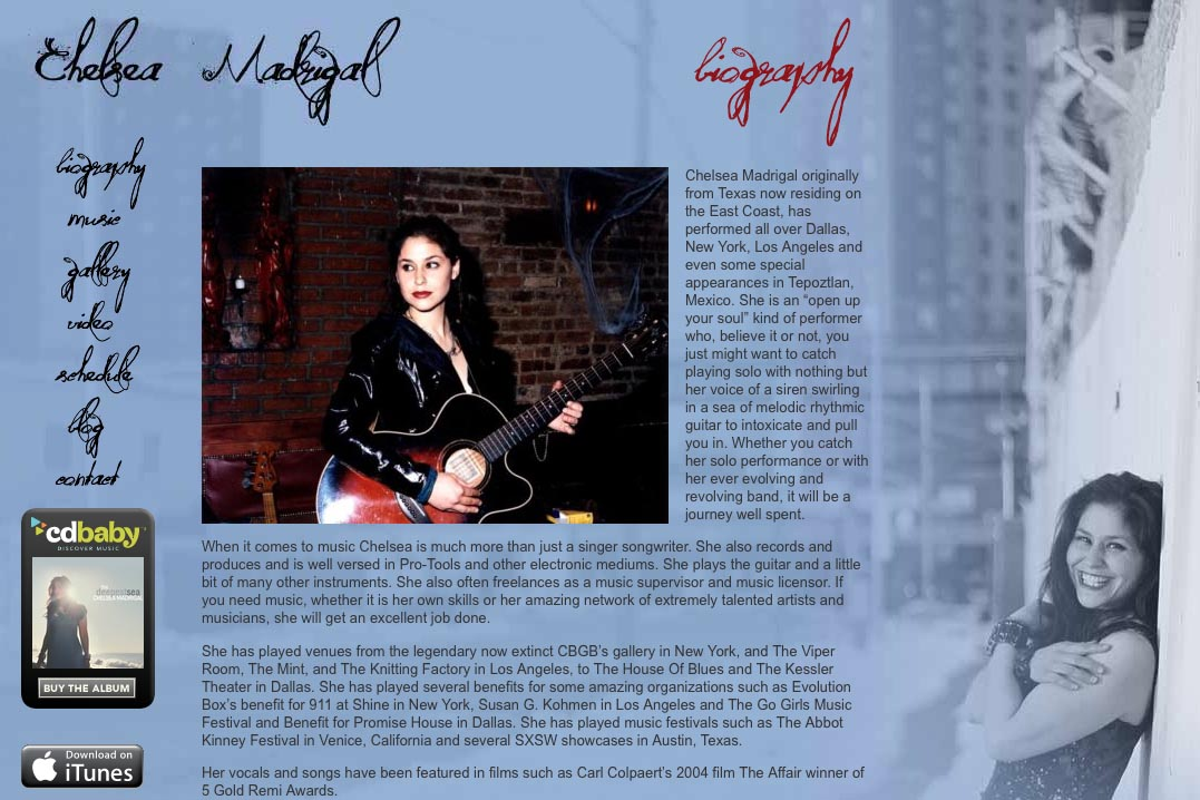 web design for a singer-songwriter - Chelsea Madrigal - biography