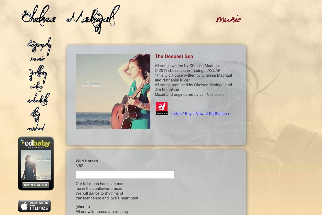 web design for a singer-songwriter - Chelsea Madrigal - music page