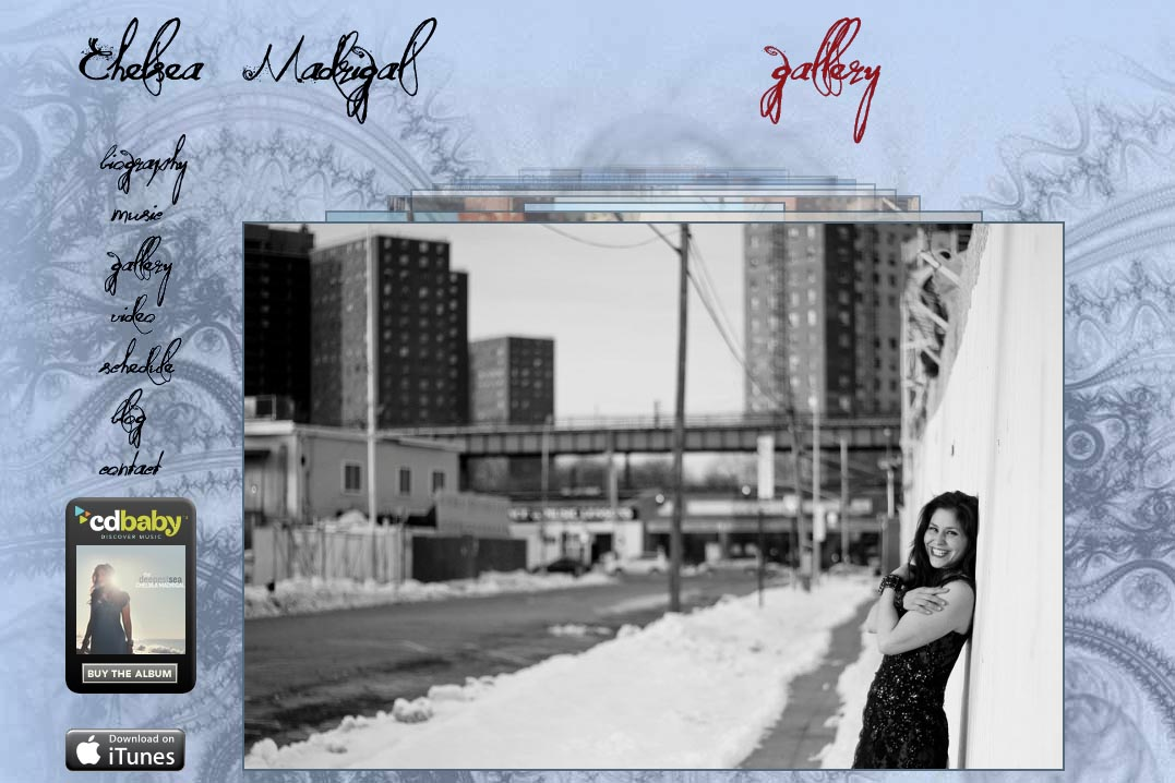 web design for a singer-songwriter - Chelsea Madrigal - gallery page