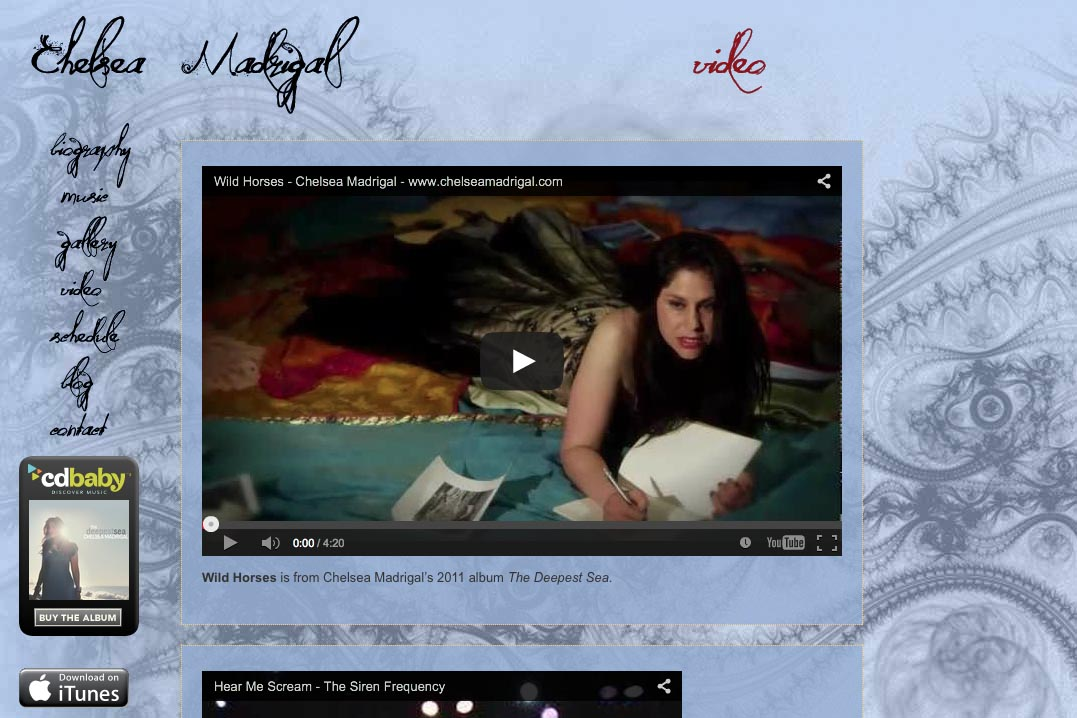 web design for a singer-songwriter - Chelsea Madrigal - video page