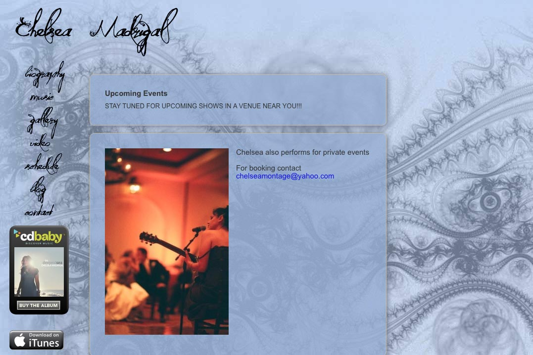 web design for a singer-songwriter - Chelsea Madrigal - schedule page