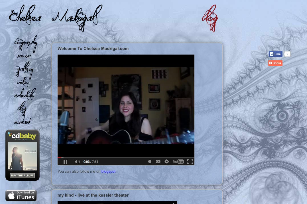 web design for a singer-songwriter - Chelsea Madrigal - blog page