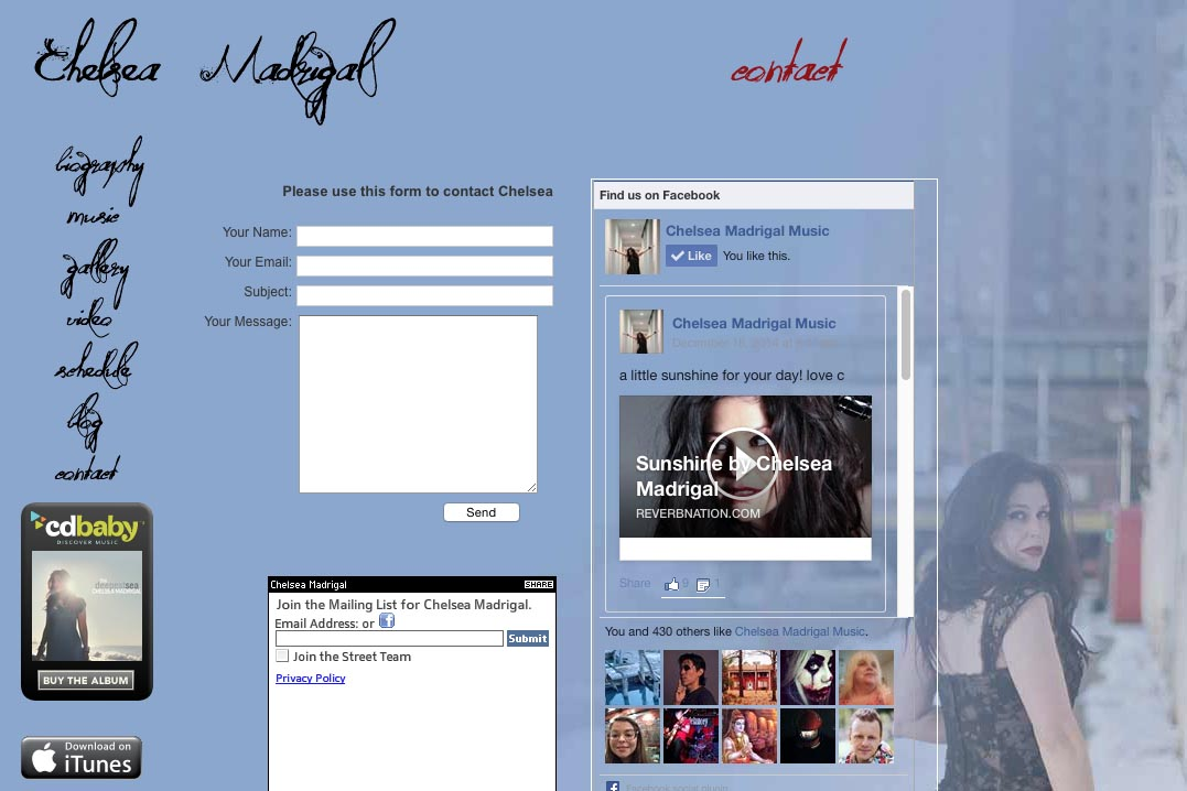 web design for a singer-songwriter - Chelsea Madrigal - contact page