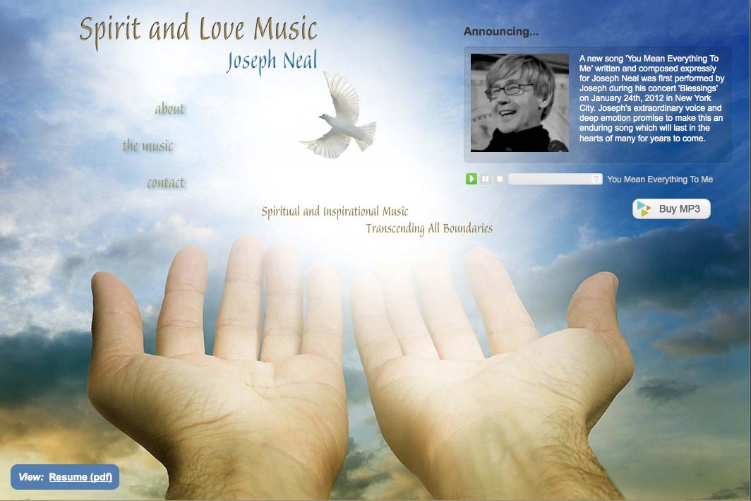web design for an inspirational singer