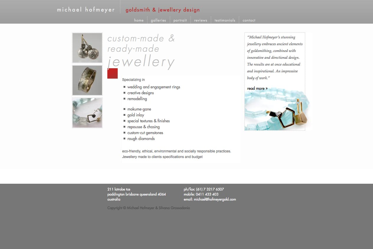 web design for an artisanal jeweler