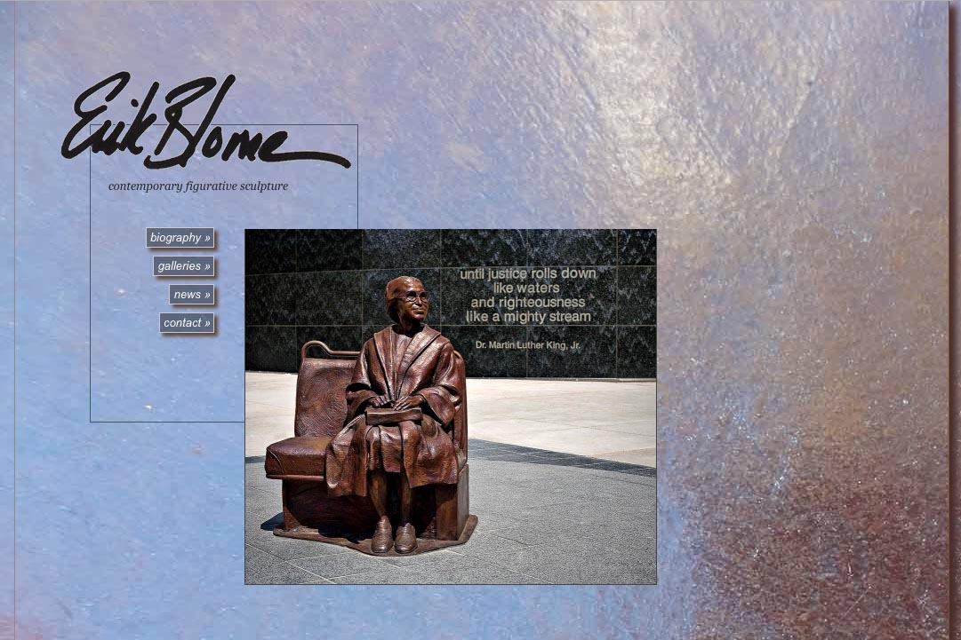 web design for a figurative sculptor - by web designer for artists, Rohesia Hamilton Metcalfe