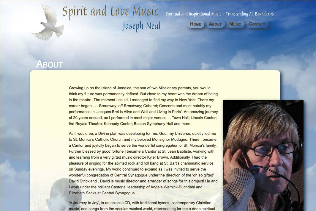 web design for an inspirational singer - Joseph Neal - about page