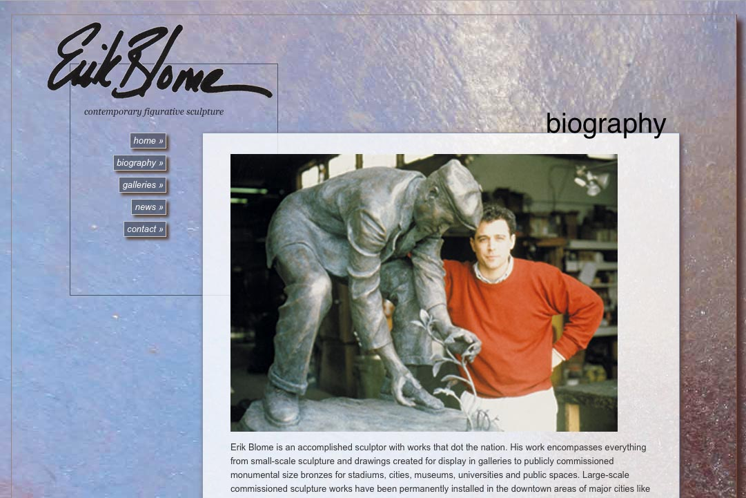 web design for a figurative sculptor - Erik Blome - biography page