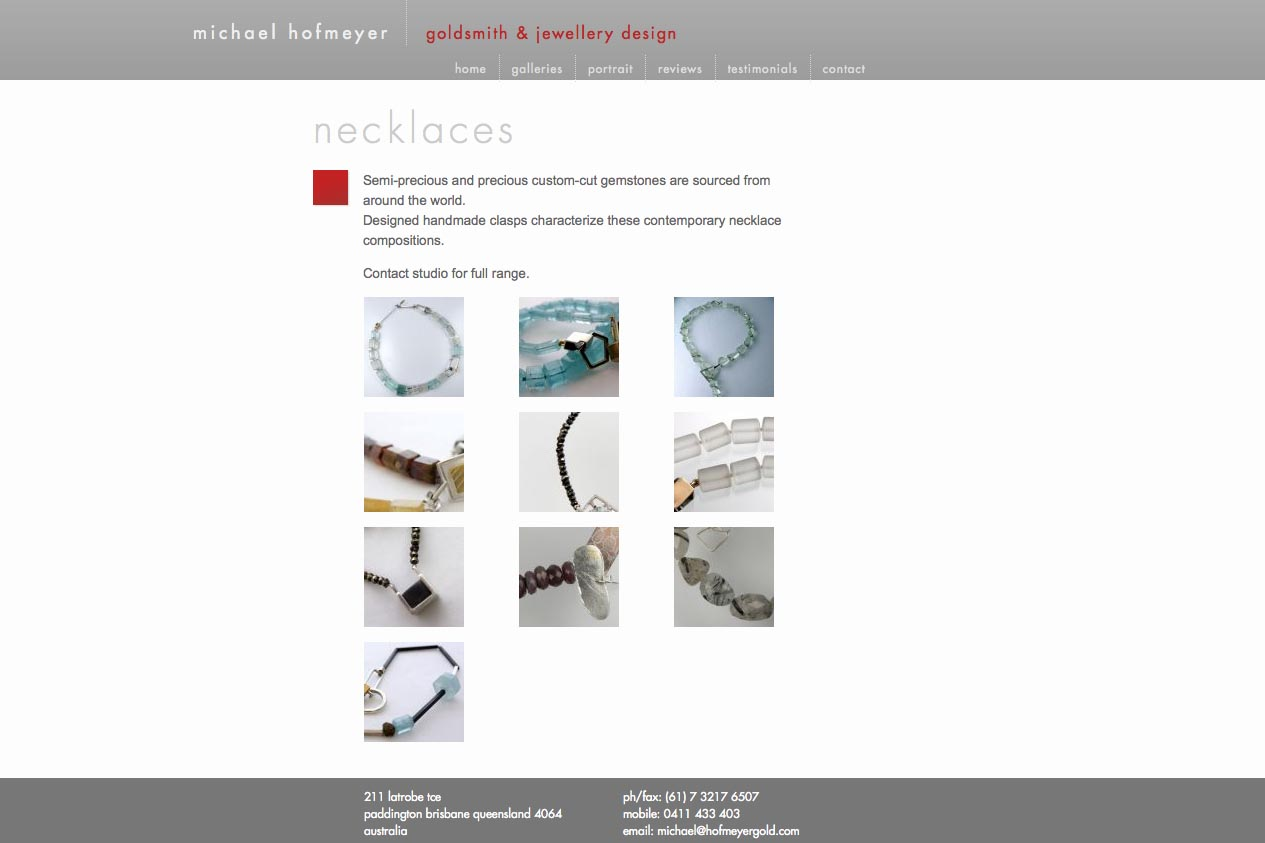 web design for an artisanal jeweler - Michael Hofmeyer - necklaces index page
