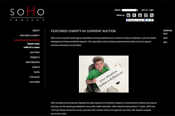 web design for a non-profit organization - soho project - featured charity page