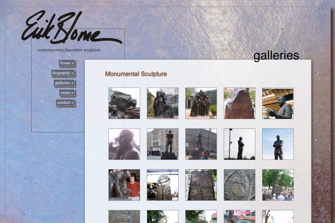web design for a figurative sculptor - Erik Blome - galleries thumbnails page 1