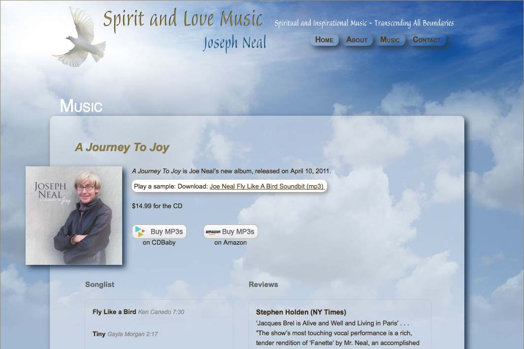 web design for an inspirational singer - Joseph Neal - music page