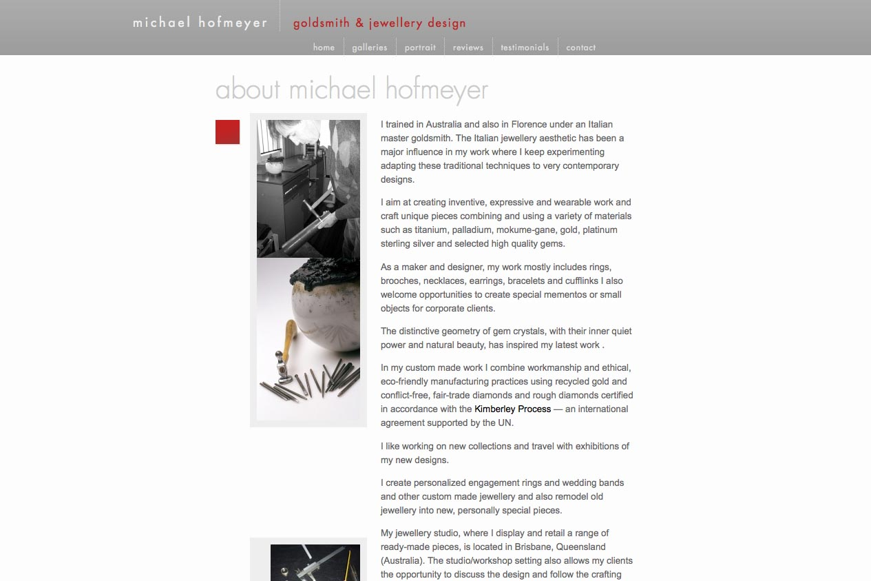web design for an artisanal jeweler - about page