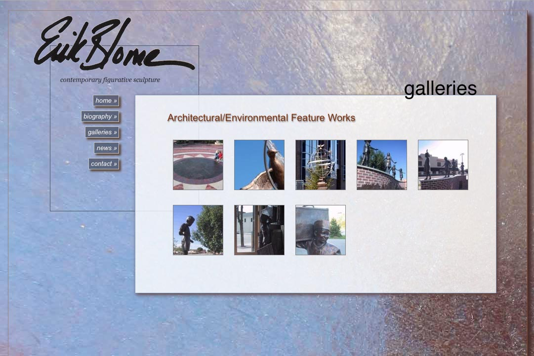 web design for a figurative sculptor - galleries thumbnails page 2