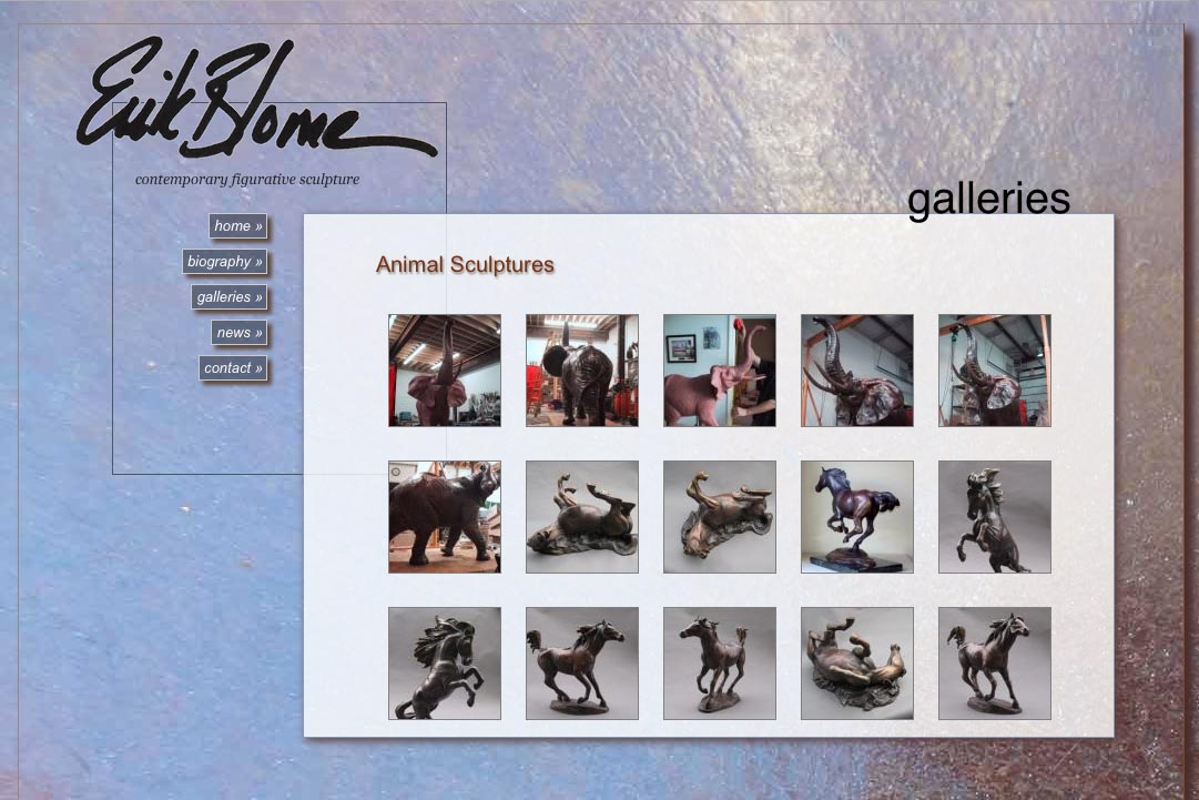 web design for a figurative sculptor - Erik Blome - galleries thumbnails page 3