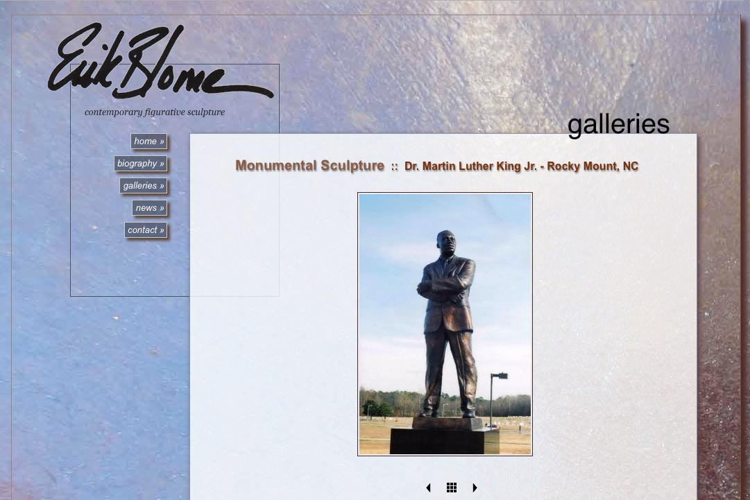 web design for a figurative sculptor - Erik Blome - galleries single artwork page 2