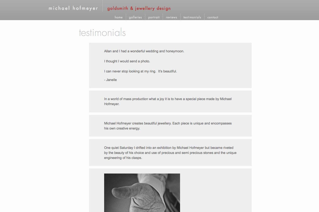 web design for an artisanal jeweler - testimonials page