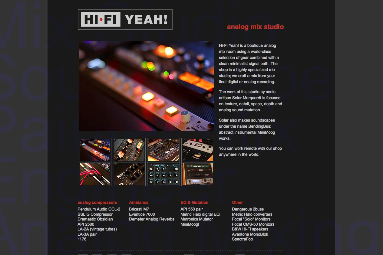 web design for an indie recording studio - HiFi Yeah! - by web designer for artists, Rohesia Hamilton Metcalfe